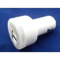 Автомобильное зарядное USB для планшета и телефона 5V 2A (2 выхода). Белая.
